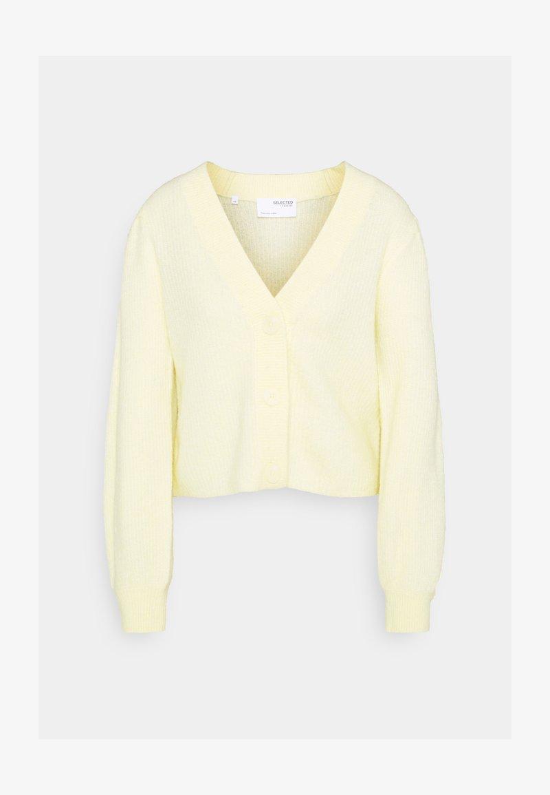 Selected Femme - SLFLIPA CARDIGAN - Cardigan - pastel yellow