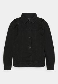 Missguided Plus - LACE UP DETAIL JACKET - Denim jacket - black - 4