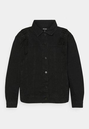 LACE UP DETAIL JACKET - Denim jacket - black