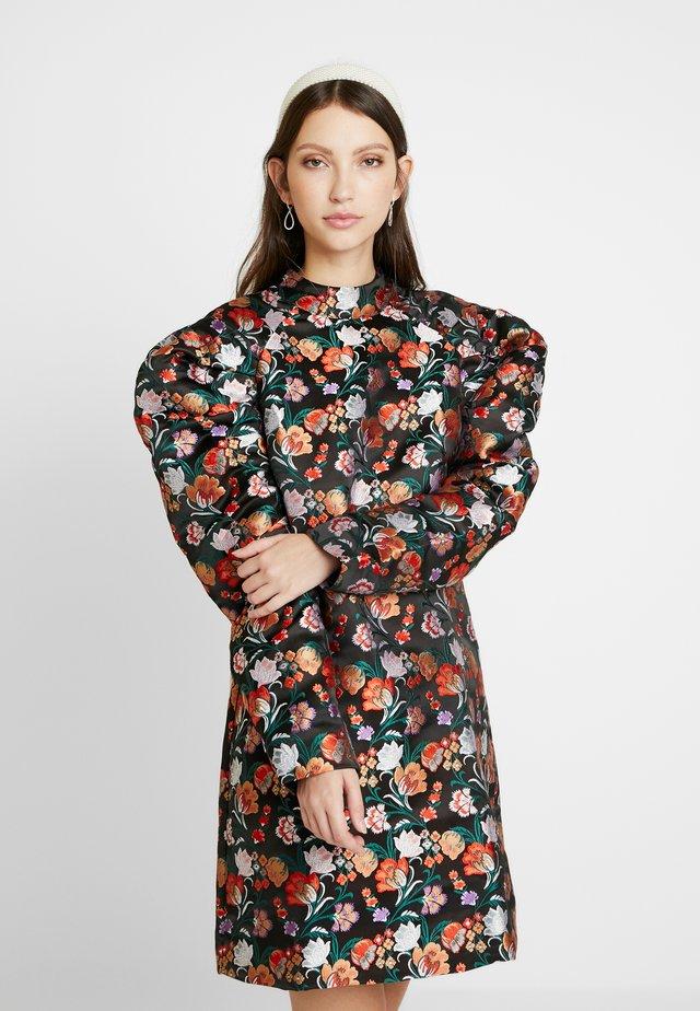 PUFF SLEEVE EMBROIDERED MINI DRESS - Sukienka letnia - multi/black