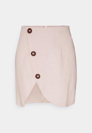 BUTTON SIDE MINI SKIRT - Mini skirt - sand