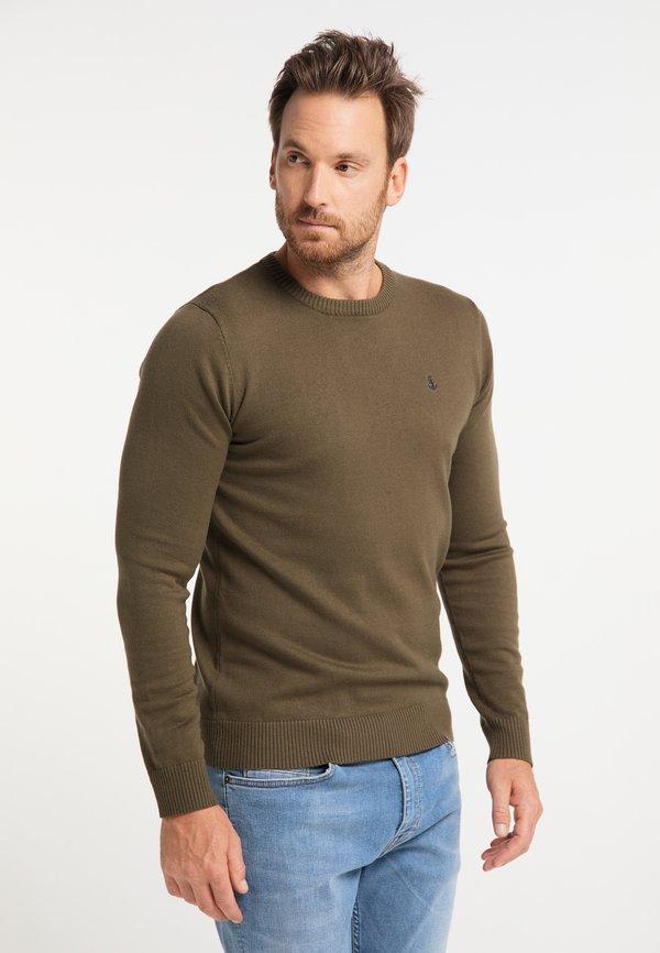DreiMaster Sweter - militär oliv/brązowy Odzież Męska XGJR