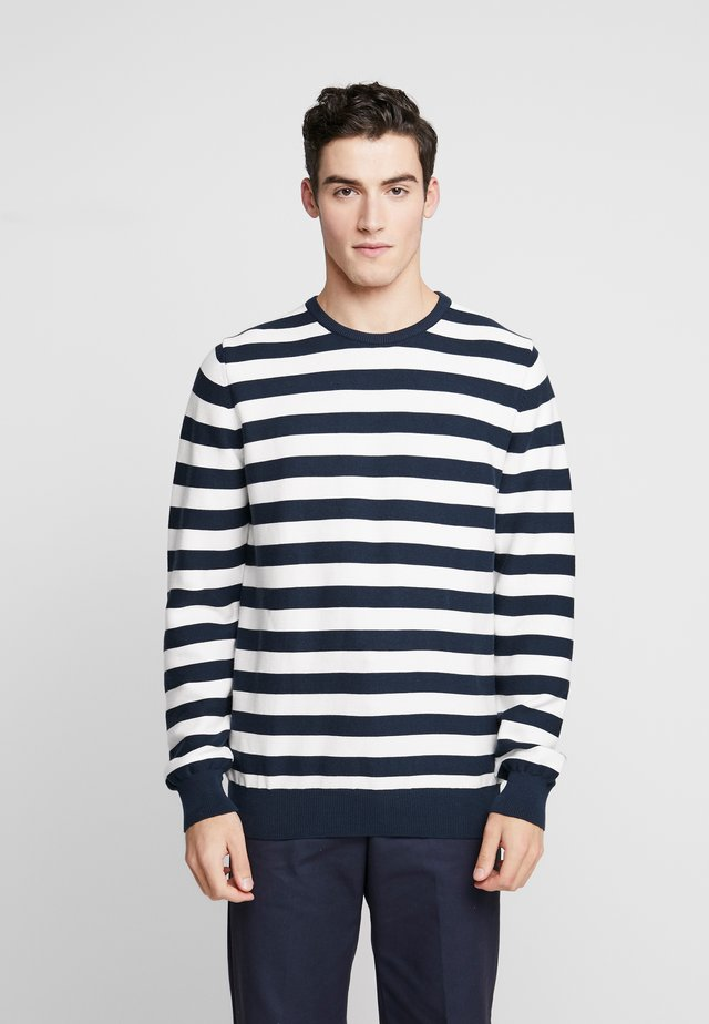 THE ORGANIC STRIPED KNIT - Jumper - navy blazer