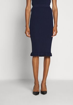 MIDI RUFFLE SKIRT - Pencil skirt - true navy