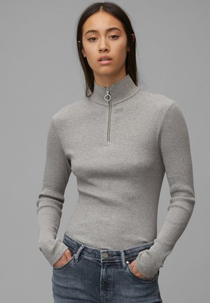 LONGSLEEVE WITH ZIPPER SPECIAL COLLAR - Long sleeved top - cloudy melange