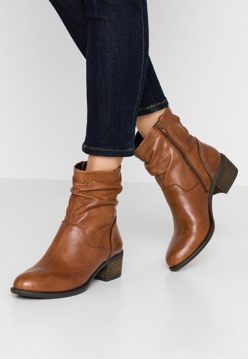 Steven New York - MODETTE - Kotníkové boty - cognac