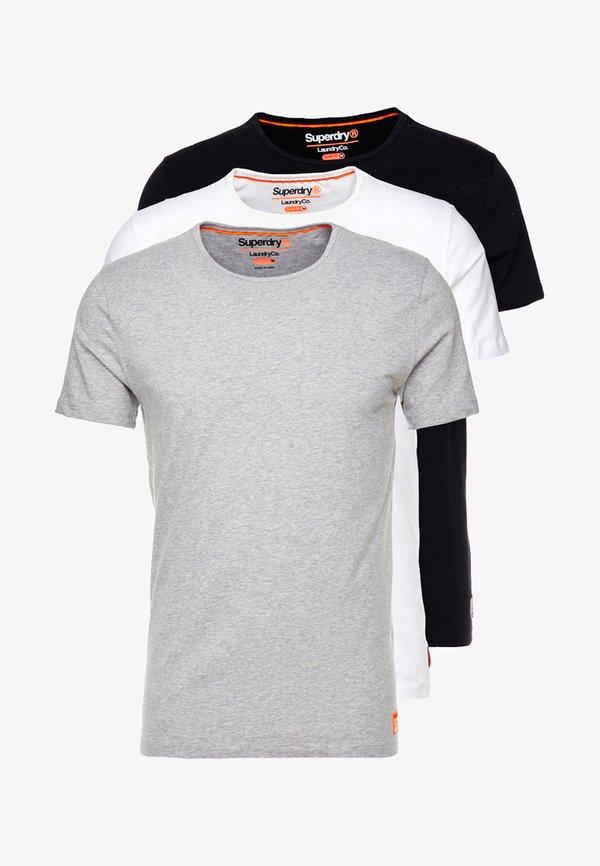 Superdry SLIM TEE 3 PACK - T-shirt basic - laundry grey grit/laundry black/laundry white/czarny Odzież Męska TLHC