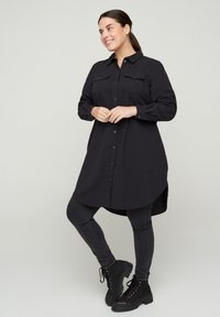 Zizzi - Button-down blouse - black - 1