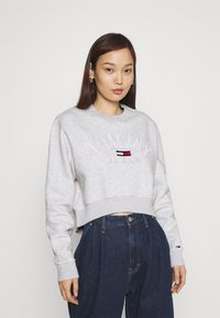Tommy Jeans - CROP COLLEGE LOGO - Sweater - silver grey heater - 0