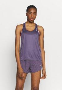 Nike Performance - MILER TANK RACER - Sports shirt - dark raisin/silver - 0