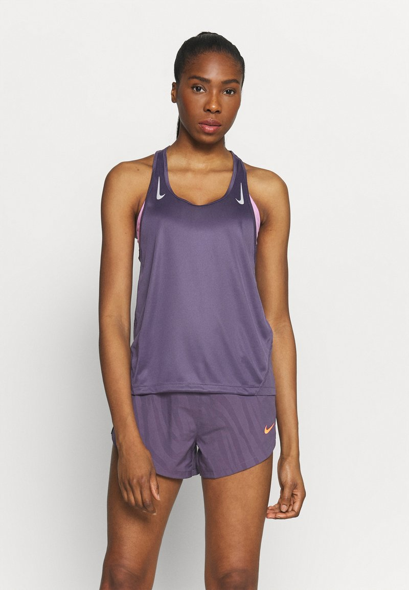 Nike Performance - MILER TANK RACER - Sports shirt - dark raisin/silver
