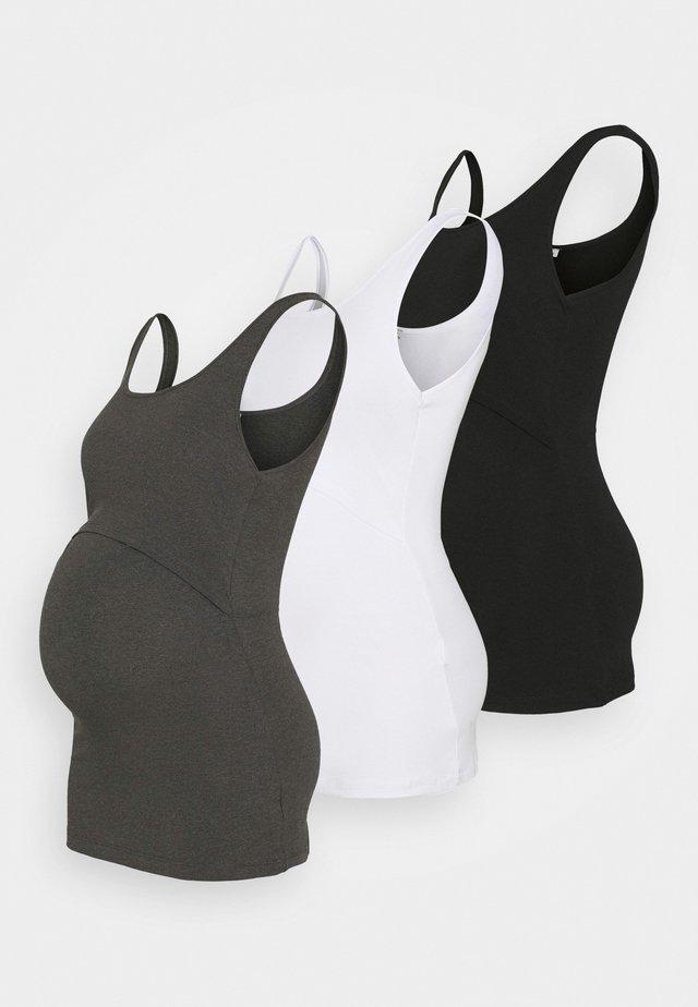 NURSING 3er PACK - Top - Topper - black/dark grey/white