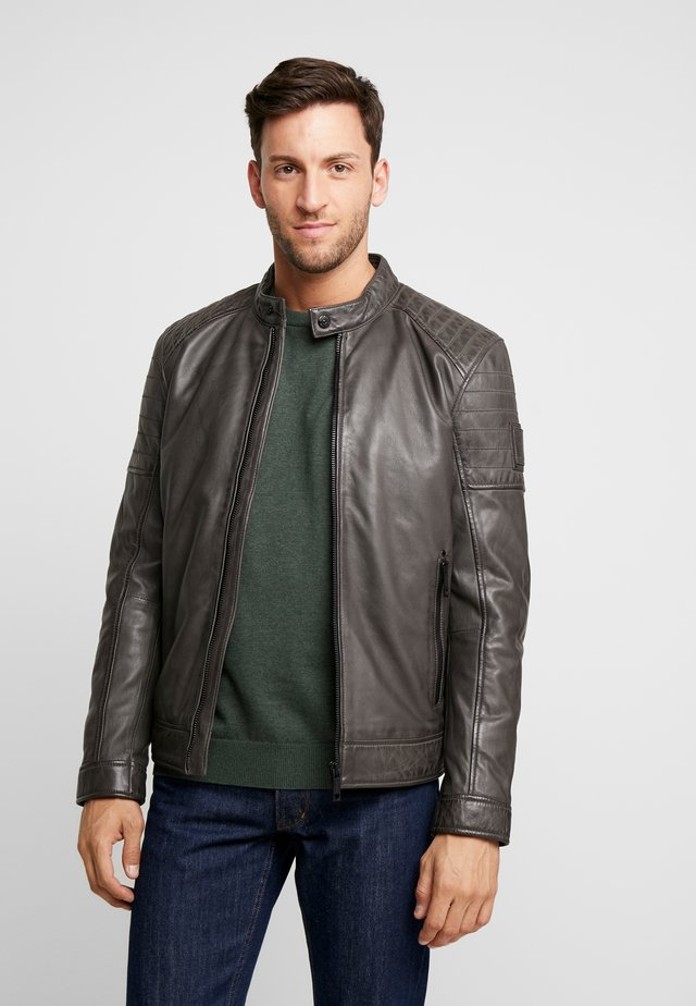 DERRY - Leather jacket - dark grey