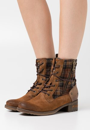 Lace-up ankle boots - kastanie