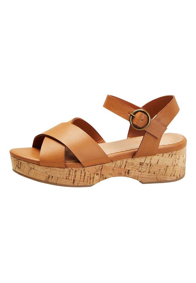 TAN CORK WEDGE SANDALS (OLDER) - Clogs - brown