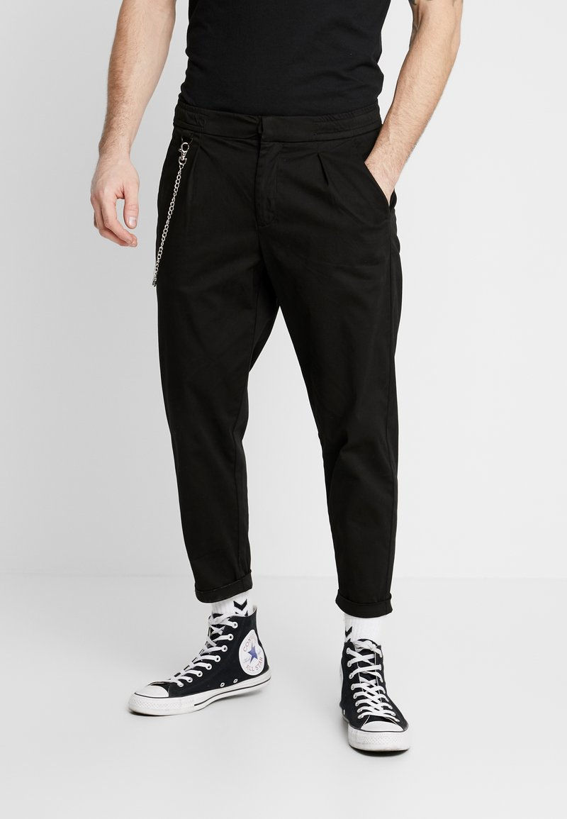 Redefined Rebel - LEE CROPPED PANTS - Tygbyxor - black