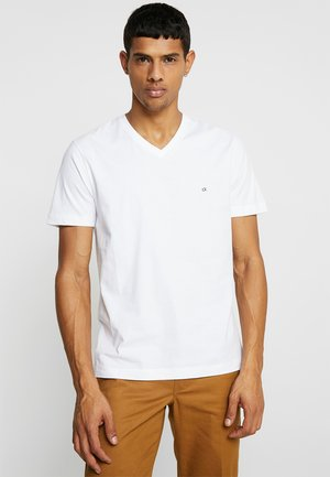 V-NECK CHEST LOGO - T-shirt basic - white