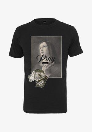 MISTER TEE PRAY DOLLAR - T-shirt imprimé - black