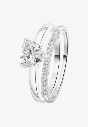 DUBBELE MET HART - Ring - zilver