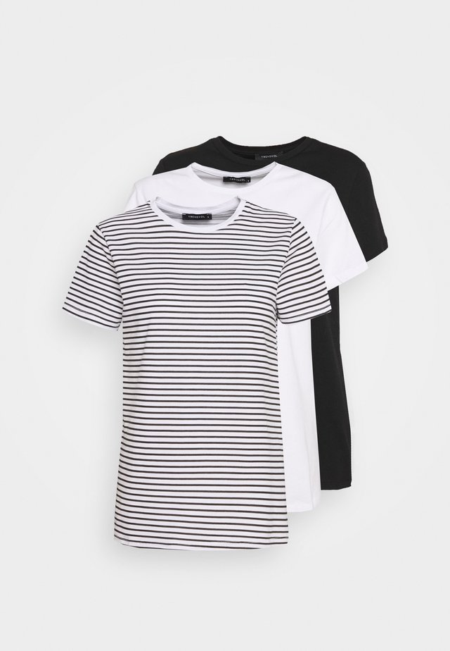 3 PACK - T-shirt con stampa - white/black