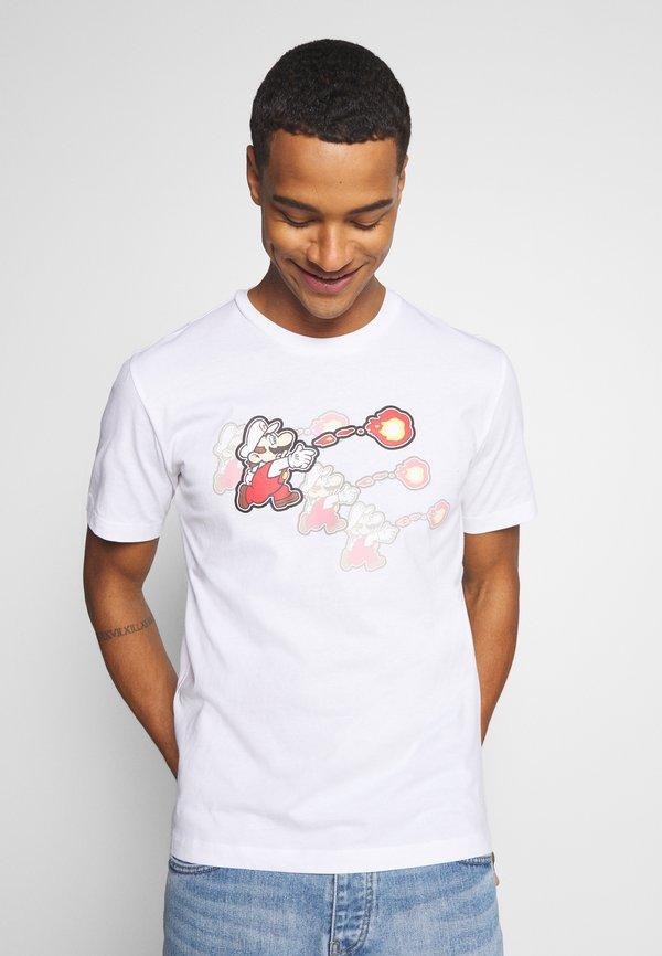 Champion Rochester CREWNECK NINTENDO - T-shirt z nadrukiem - white/biały Odzież Męska ZKXP
