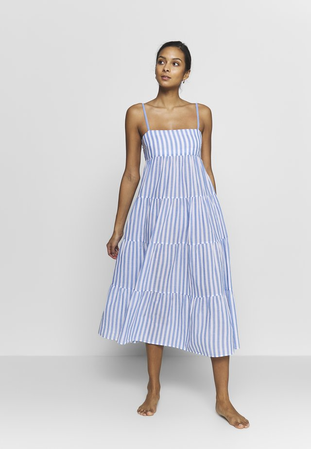 SAFARI STRIPE TIERED DRESS - Beach accessory - chambray