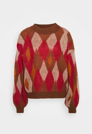 VIPOCO GRAPHIC - Sweter - jester red/natural melange/turtle shell
