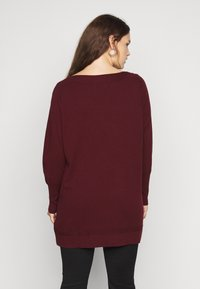Evans - BERRY BUTTON CUFF TUNIC - Jumper - berry - 2