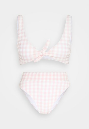 TIE FRONT CROP HIGHWAISTED CHEEKY SET - Bikini - pale pink
