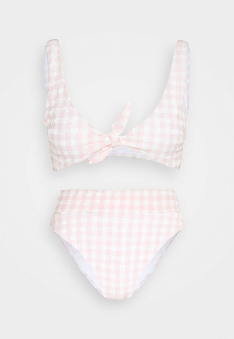 Cotton On Body - TIE FRONT CROP HIGHWAISTED CHEEKY SET - Bikini - pale pink