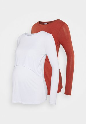 TWO IN ONE LONG SLEEVE 2 PACK - Topper langermet - white/red