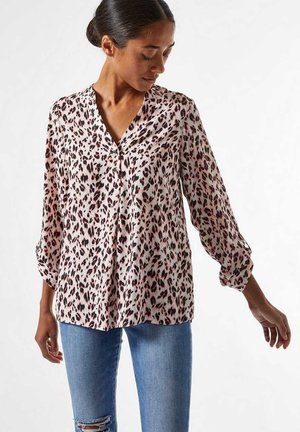 ANIMAL PRINT ROLL SLEEVE - Blouse - blush