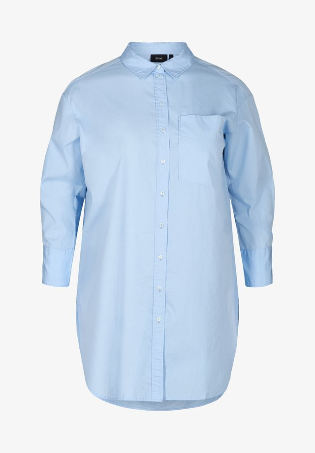 MIT BRUSTTASCHE - Button-down blouse - blue