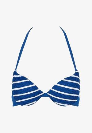 WATTIERTES NATALIE - Bikini top - streifen - 182c - hyper blue riga bianca