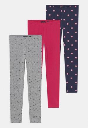 KIDS GIRLS 3 PACK - Leggings - Trousers - magenta/dunkel blau/nebel mel