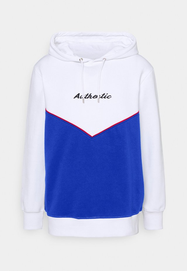 CUT AND SEW HOODY UNISEX - Sweatshirt - white/dark blue