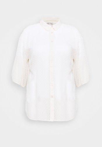 DOBBY - Button-down blouse - stone