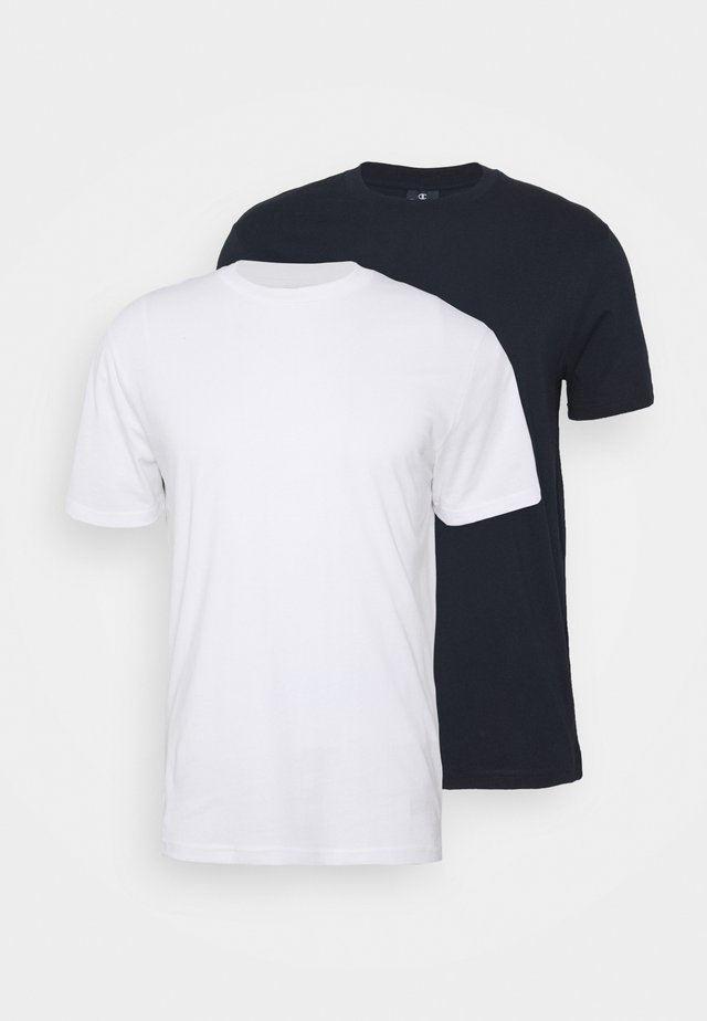 LEGACY CREW NECK 2 PACK - T-shirts basic - white/navy