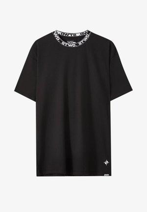 SCHWARZES MIT STWD-PRINT AM AUSSCHNITT - Print T-shirt - mottled black