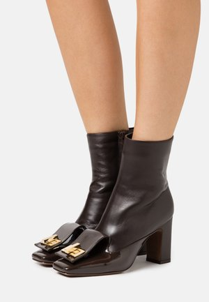BOOT ZIP - High heeled ankle boots - dark brown