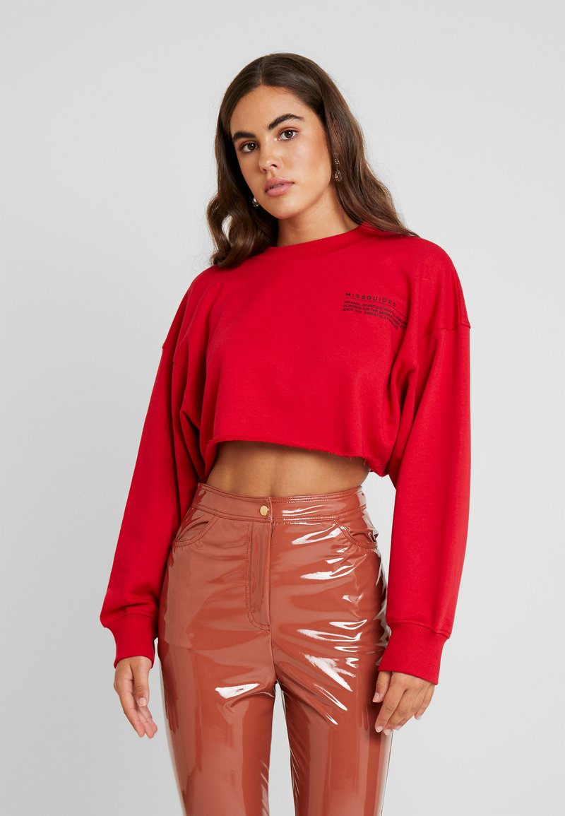 Missguided - CROPPED RAW HEM - Sweatshirt - red
