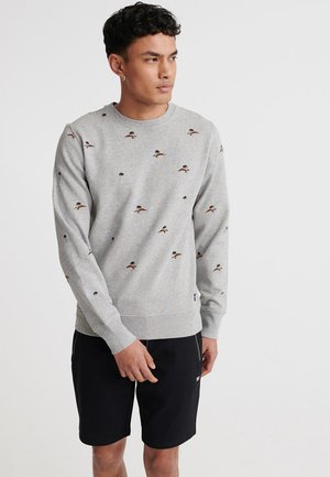 SUPERDRY ALL OVER EMBROIDERY CREW SWEATSHIRT - Sweater - silver glass feeder