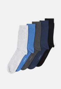 SOLID ESSENTIAL 5 PACK - Strumpor - grey/blue/black