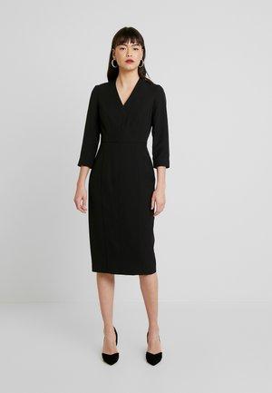 SLEEVE V NECK DRESS - Pouzdrové šaty - black