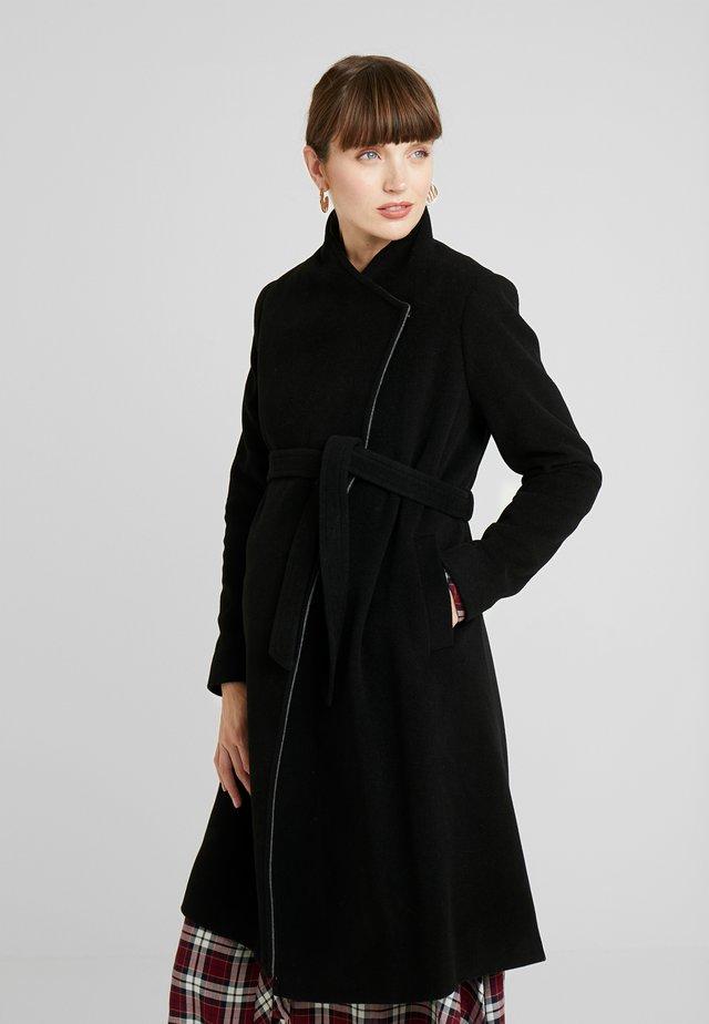 DONATELLA BLEND WRAP COAT - Abrigo corto - black
