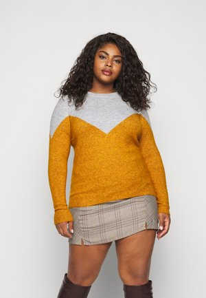 VMPLAZA - Pullover - light grey melange/buckthorn brown