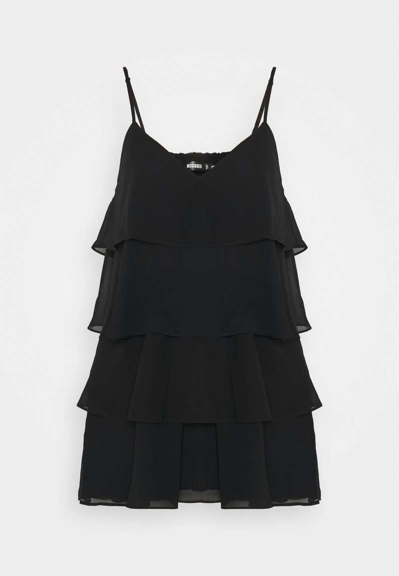 Missguided - BLACK LAYERED FRILL FLOATY - Jumpsuit - black