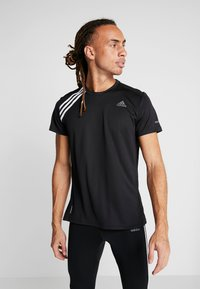 adidas Performance - OWN THE RUN TEE - Triko s potiskem - black/white - 0