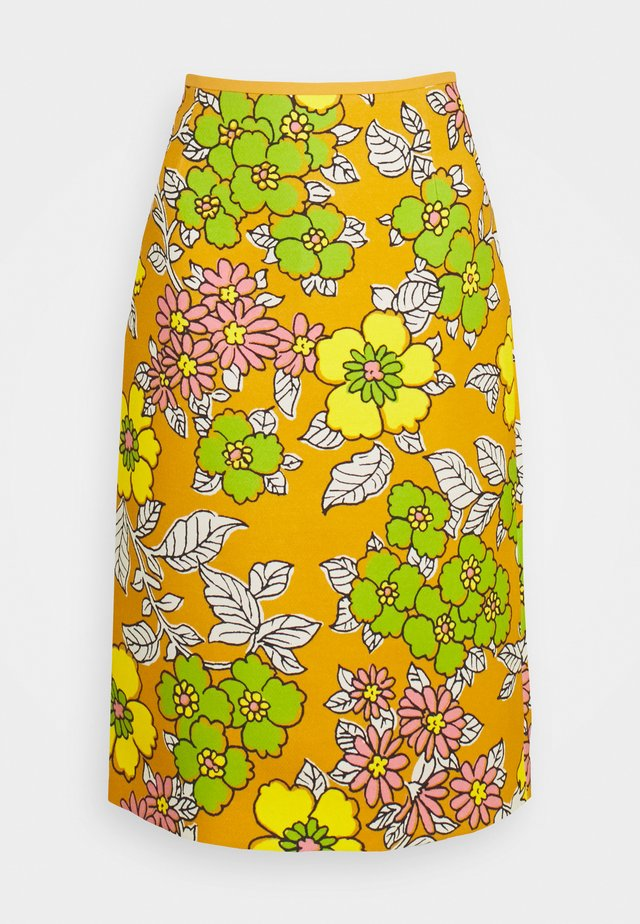 PRINTED PENCIL SKIRT - Gonna a tubino - rust wallpaper