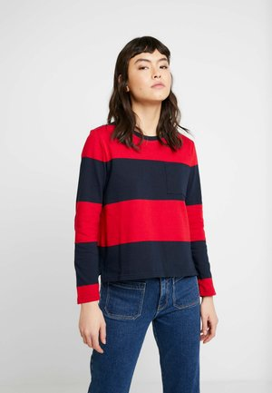 SKIMMER TEE STRIPES - Long sleeved top - navy with red stripe